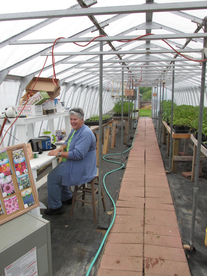 Sister Suzanne Donner in the greenhouse at Jubilee Farm