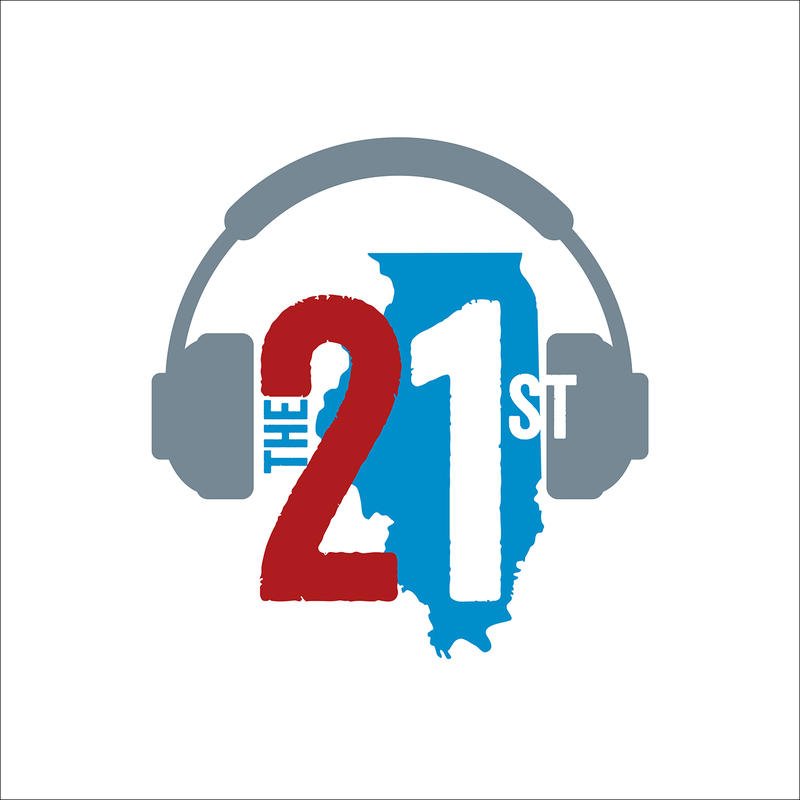 The 21st logo over the state of illinois with headphones