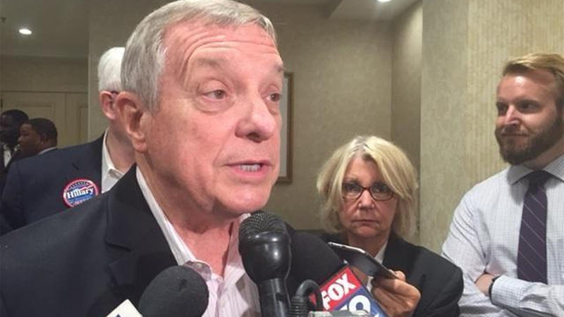 Durbin with reporters at the DNC in Philadelphia