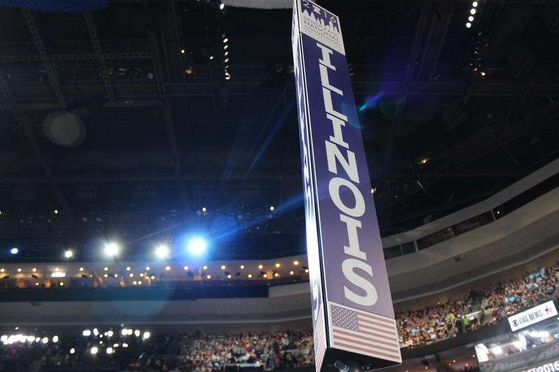 Illinois delegation sign at DNC in Philadelphia.