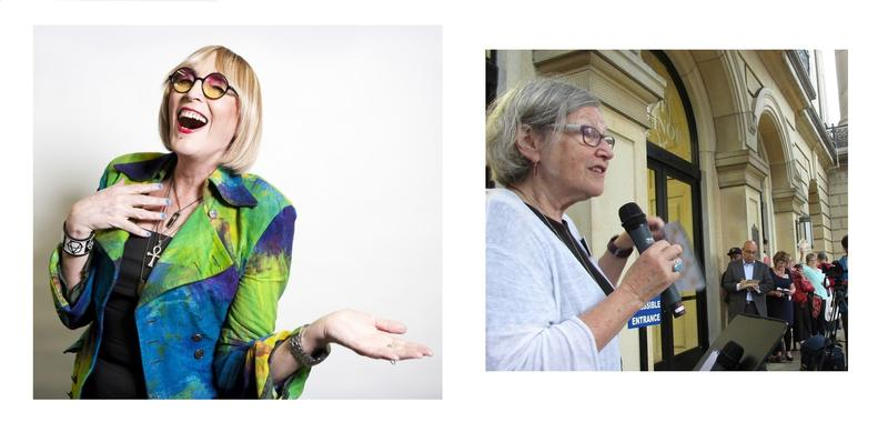 Kate Bornstein (L) + Sister Simone Cambpell at the Illinois statehouse, leading a rally