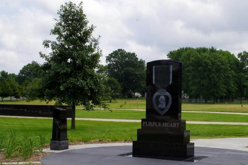 The new Purple Heart monument at Oak Ridge cemetery.