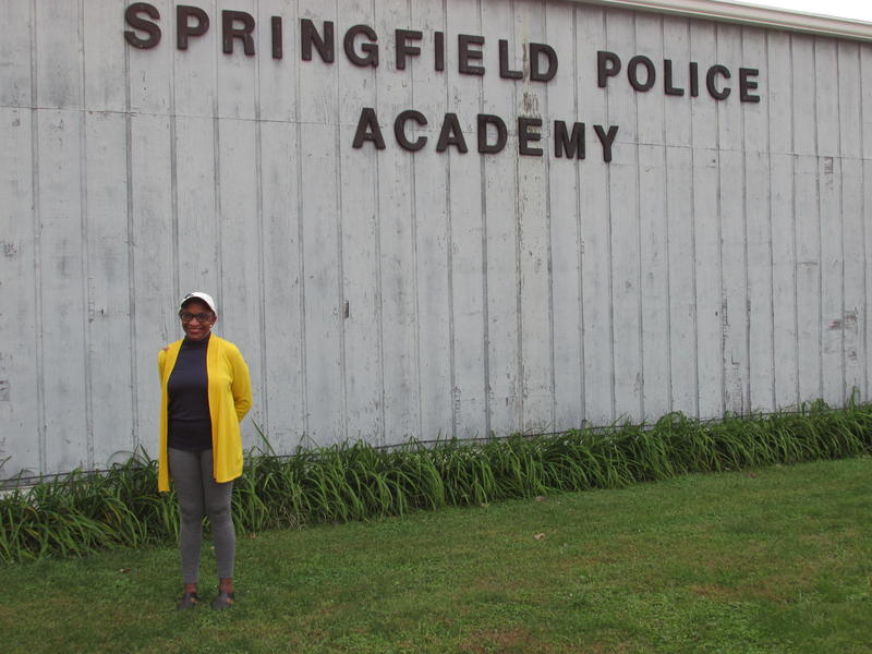 Kathryn Harris standing outside before class starts at the training location in Springfield (3501 Color Plant Rd.)