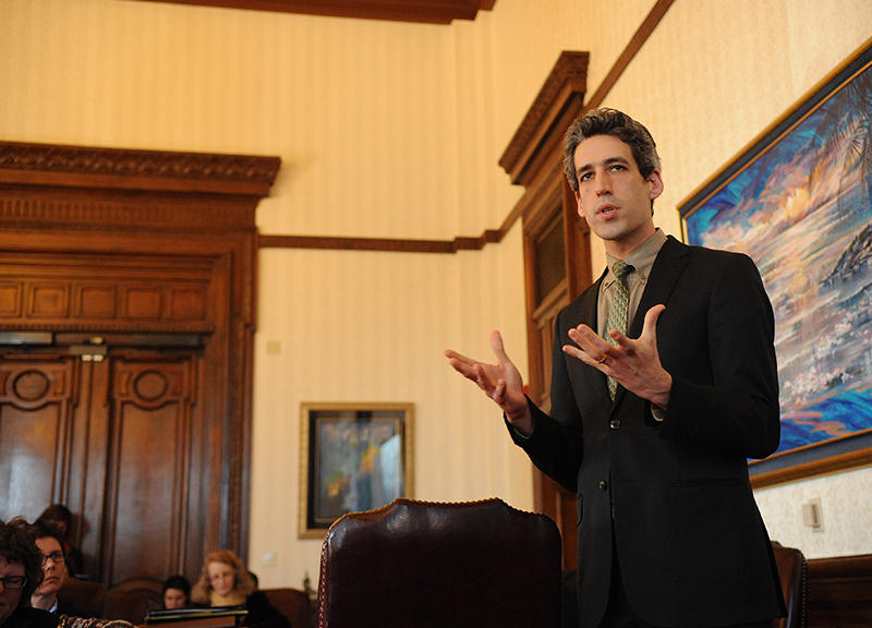 Daniel Biss speaking to group