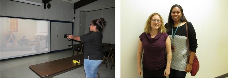 Sunshine Clemons participates in a shooting simulation / Katharine Eastvold & Sunshine Clemons