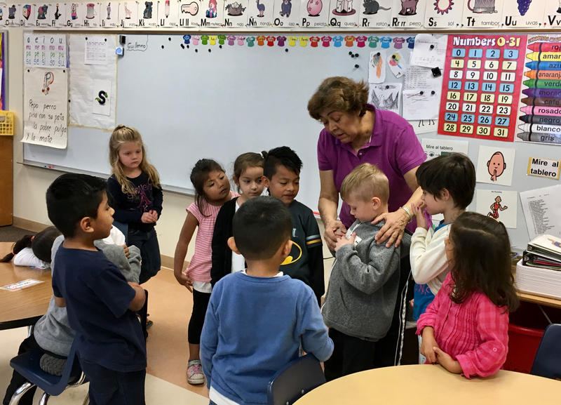 Luz Rios teaches a kindergarten class in Leal Elementary's dual language program.H