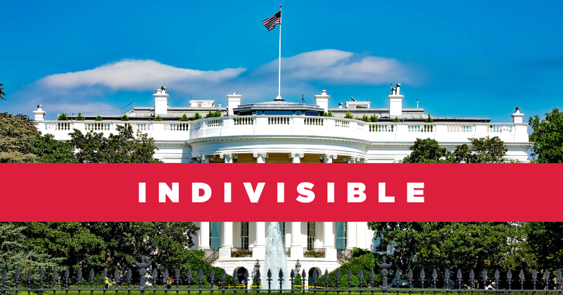 Whitehouse with Indivisible program logo in front.