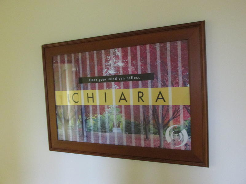 poster inside the Chiara Center
