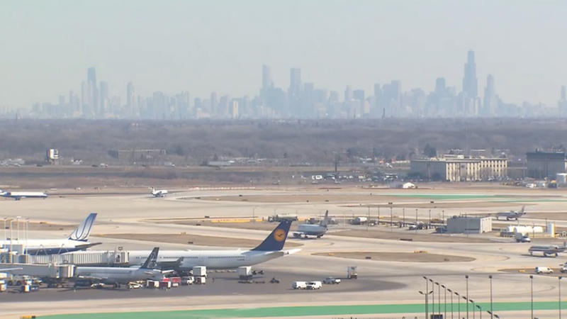 O'Hare airport with the Chicago skyline in the background.