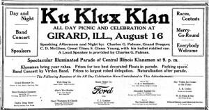 Illinois State Journal advertisement, Aug. 15, 1924 (S. Glenn Young was a controversial Southern Illinois Klan leader.)