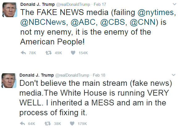 two recent tweets in which President Trumps aims to discredit mainstream media