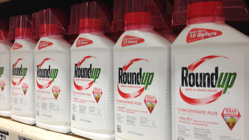 Bottles of Roundup on a shelf.