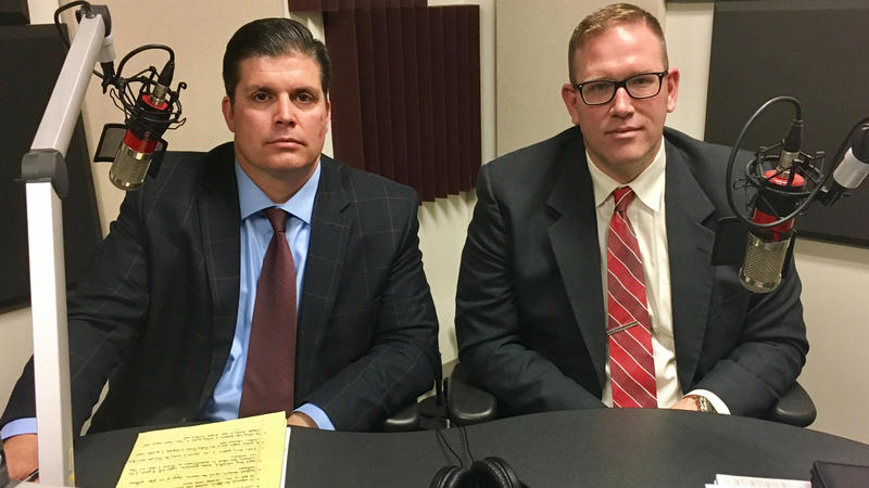Brad Skertich (left) and Dan Cox are two of the 16 school superintendents who have joined an effort to change Illinois school funding formula via the courts.