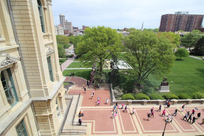 Demonstrators walked aroud the capitol gronds.