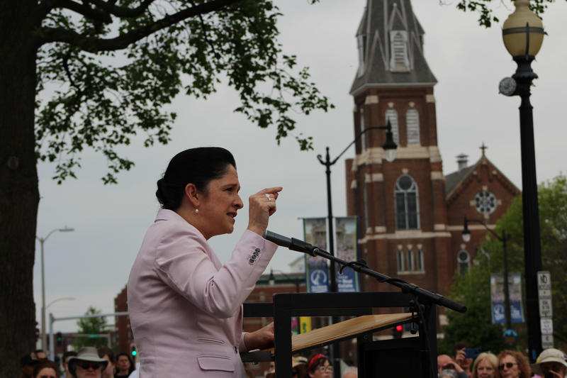 Illinois Comptroller Susana Mendoza speaks at the Women's March on Springfield on Tuesday, April 25, 2017.