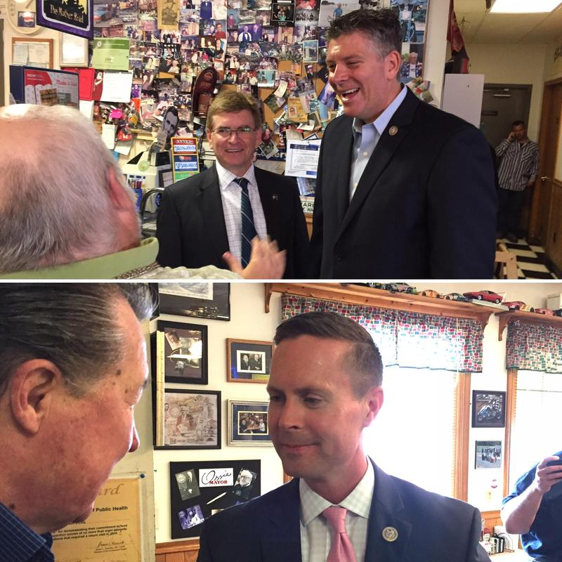 U.S. Reps. Darin LaHood, R-Peoria (above), and Rodney Davis, R-Taylorville (below), at Jungle Jim's Cafe in Springfield.
