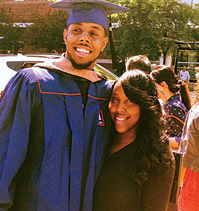 Cortlon Cofield posed with his sister Chloe at his graduation last May.