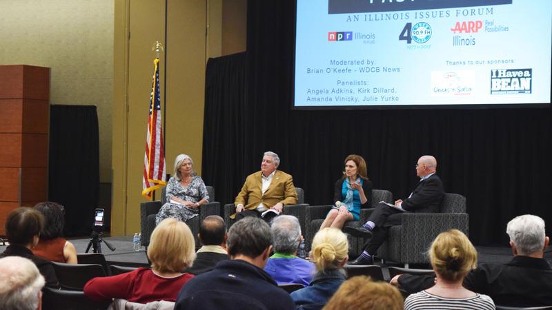Panelists Angela Adkins, Kirk Dillar, Julie Yurko, and moderator Brian O'Keefe.