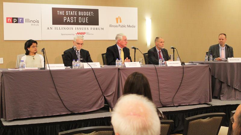Panelists Susanna Márquez, President Tim Killeen, Governor Jim Edgar, Chris Mooney and moderator Brian Moline.