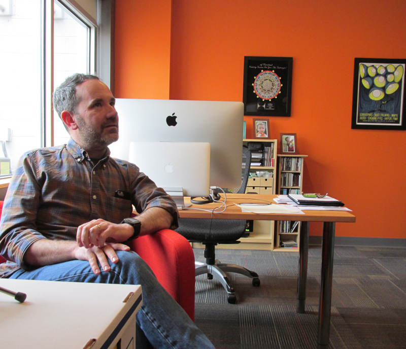 Matt Lunsford, co-founder of Polyvinyl at the HQ