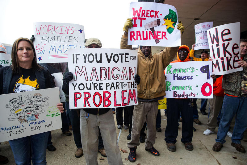 A January rally pitted supporters of Gov. Bruce Rauner against those backing House Speaker Michael Madigan