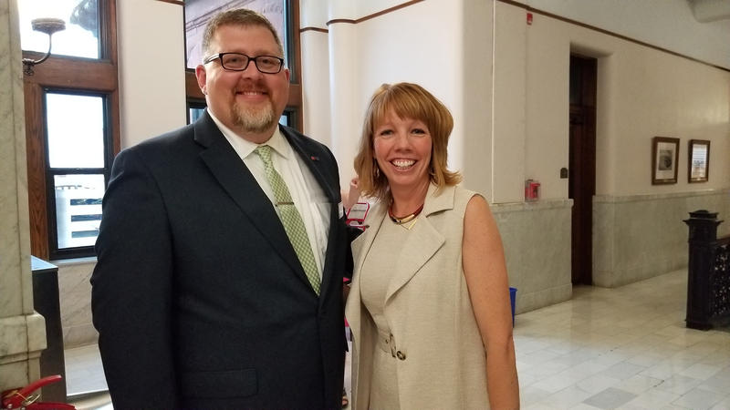 Daryl Scott, Peoria Public Radio Host and Operations Manager with panelist Beth Crider Derry after the forum.