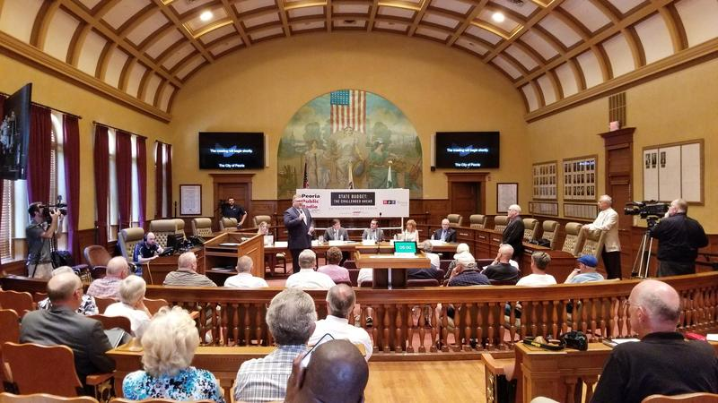 Illinois Issues Forum on the state budget and the challenges ahead at the Peoria City Hall.