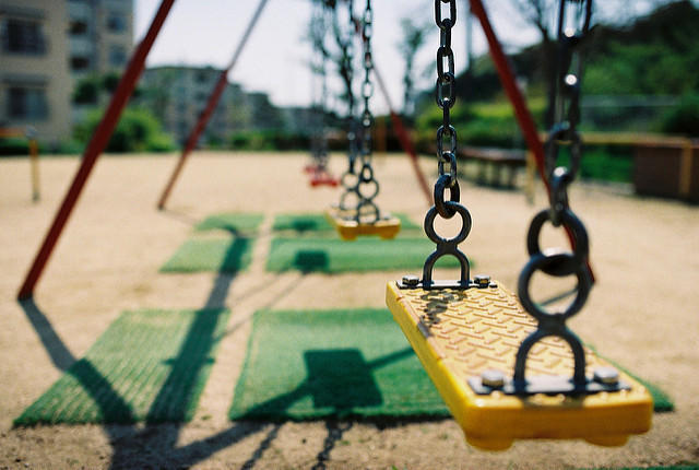 Swings in school playground