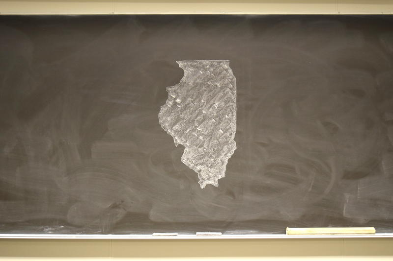 State of Illinois drawn on chalkboard