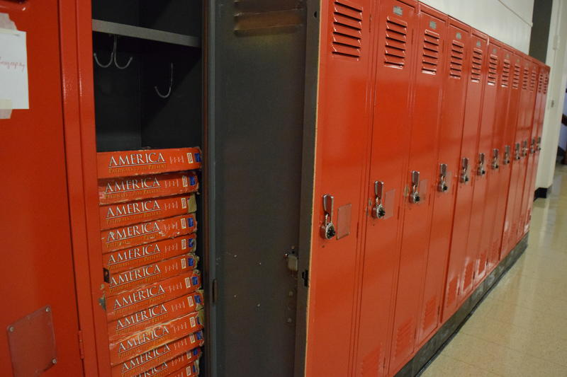 lockers with books inside