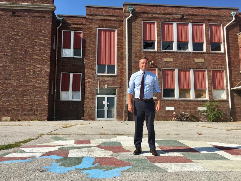 State Sen. Andy Manar outside Meissner School
