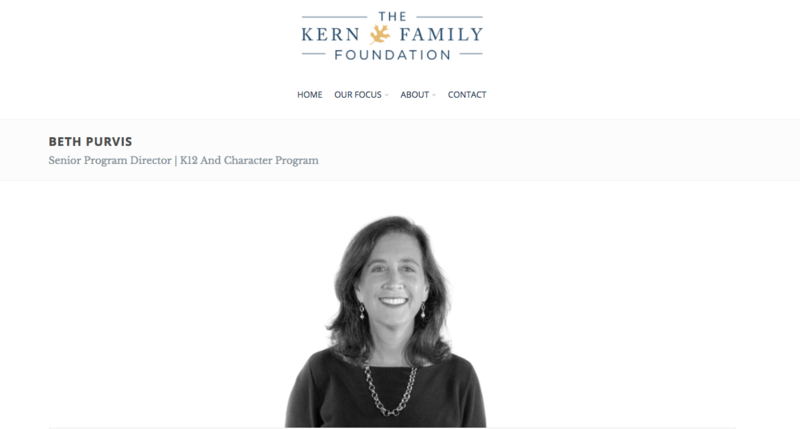screen shot of Purvis on Kern Family Foundation website