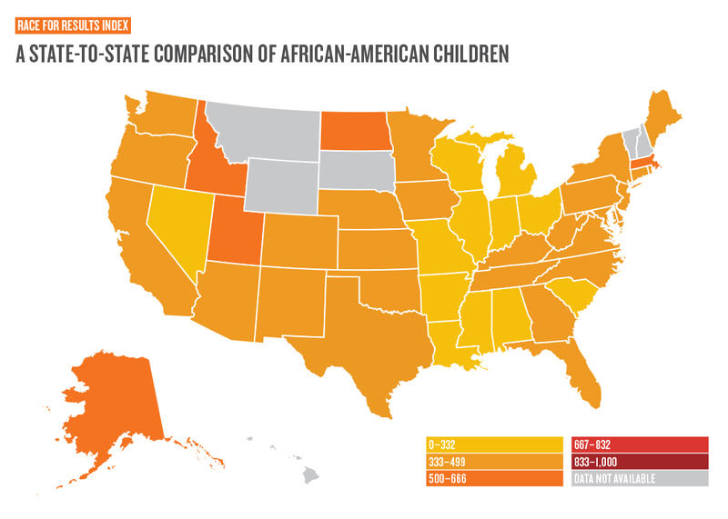 An Annie E. Casey Foundation report that looked at living conditions for African-American child ranked Illinois at 34th. Scores ranged from a low of 0 to a high of 1,000.