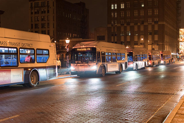 Buses lined up at night