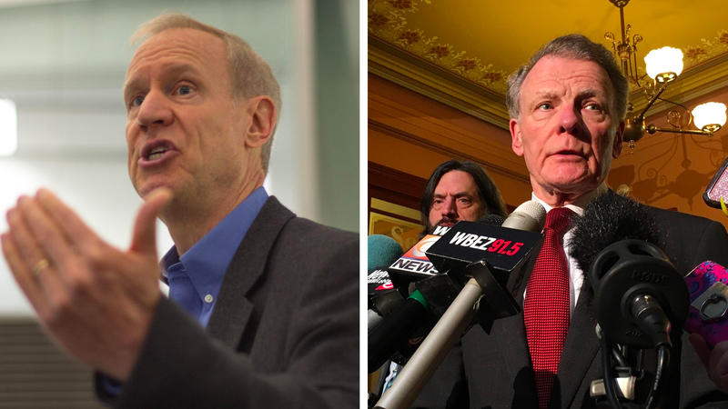 The Illinois General Assembly, led by House Speaker Mike Madigan (right) and Senate Pres. John Cullerton, overrode Gov. Bruce Rauner's (left) veto of three budget bills to end the impasse that dragged on for more than two years.
