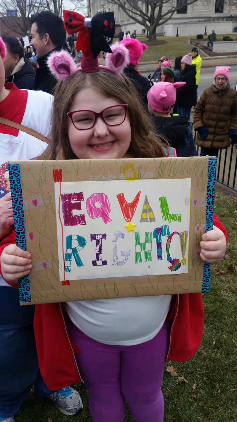 Aimee Southwell has attended protests and rallies since she was 3, now 9, she lives in Springfield