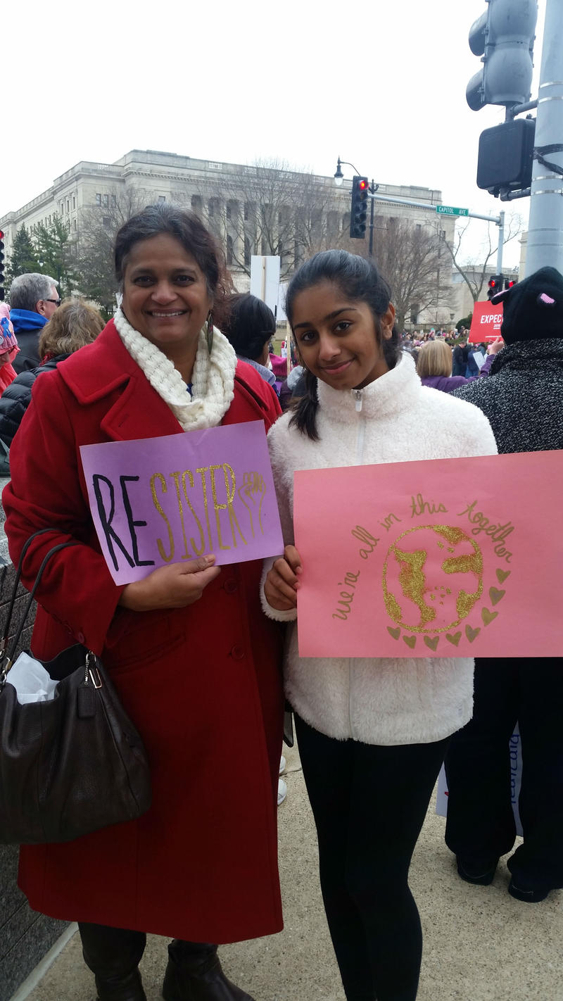 Illina Karri and her mom Vasanta Mushunuri - this is the first women's march for Illina, Vasanta brought her other daughter last year