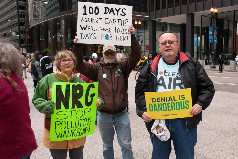Protesters at a rally in April