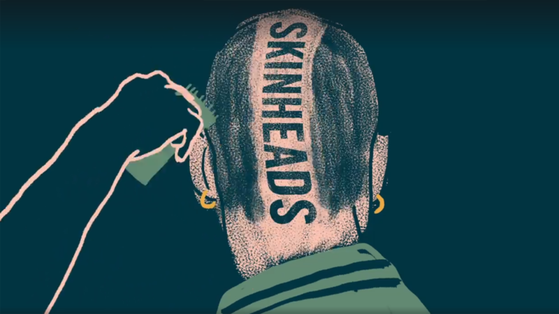 illustration of back of man's head with Skinhead shaved in it