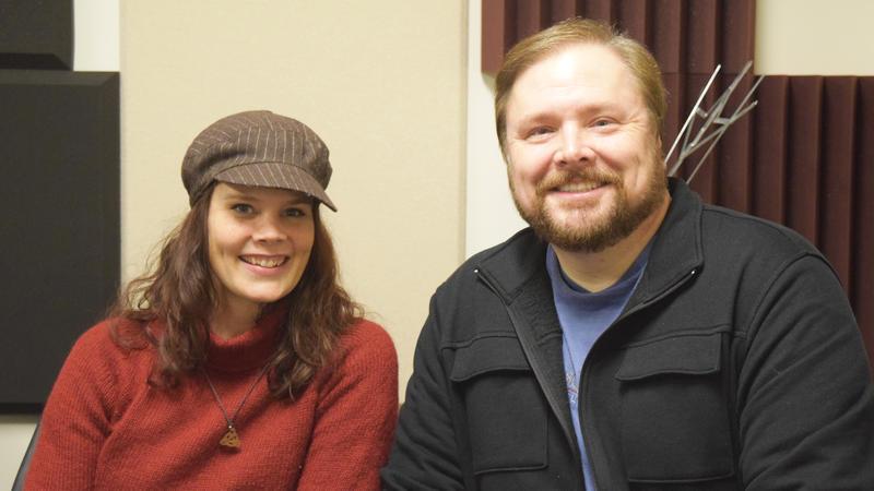 Aasne Vigesaa and Gus Gordon at the NPR Illinois Studios