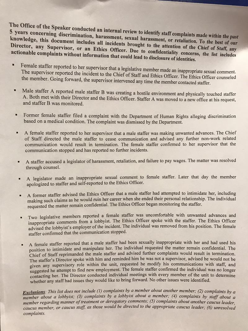 The full text of the list, provided to media on Feb. 27