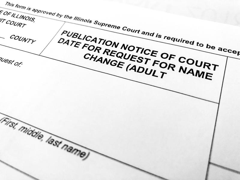 "A name change ""publication notice of court date"" form. Current law says a name change must be published in a local newspaper, but the new measure would allow someone to submit a waiver and keep the change away from public records."