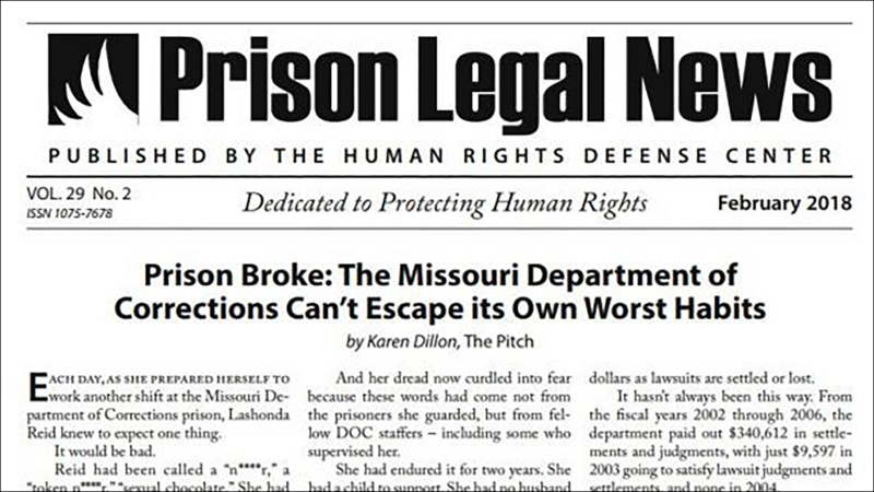 Screen capture of Prison Legal News newsletter