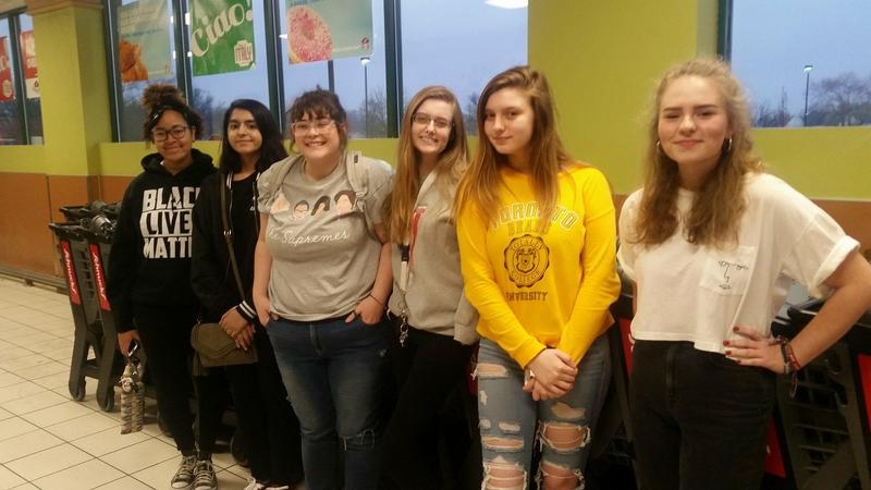 some of the students who met to organize in a Springfield grocery store, from left: Aria Bender, Sumayya Hameed, Claire Farnsworth, Izzy Pruitt, Amelia Cox & Ashley Broemmer