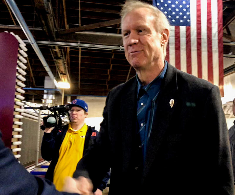 Rauner makes a campaign stop at a Springfield sign-making company, Ace Sign Co., on March 22, 2018.