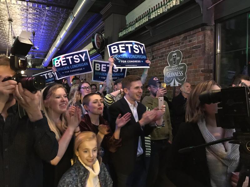 Supporters cheer during Betsy Dirksen-Londrigan's victory speech in Springfield on March 20