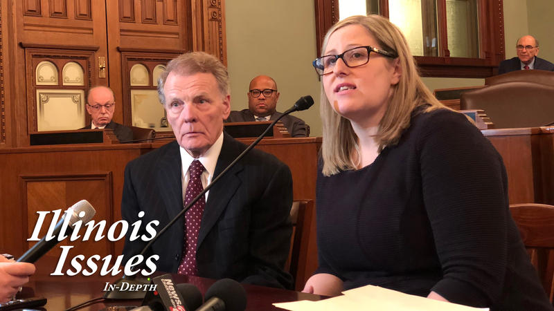 Speaker Michael Madigan and attorney Heather Wier Vaught respond to questions following campaign woker Alaina Hamilton filling a sexual harassment charge with the Equal Employment Opportunity Commission.