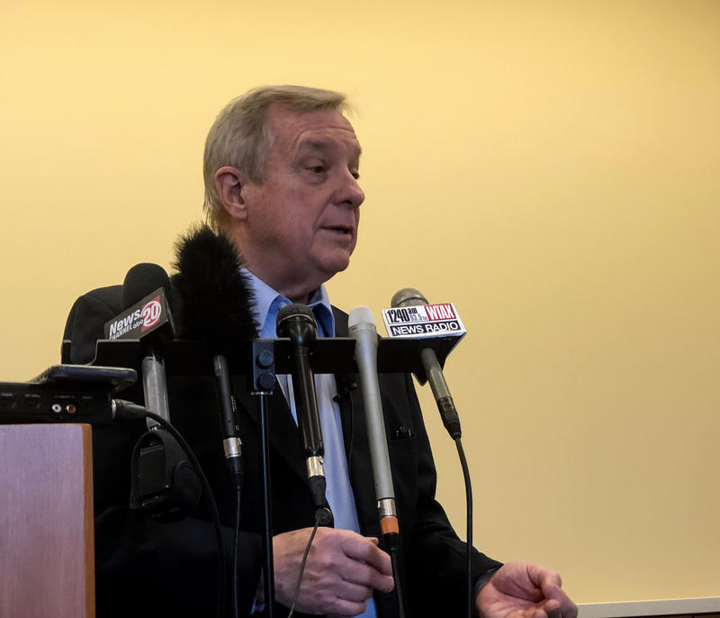 IL U.S. Sen. Dick Durbin at a press conference in Springfield's  Memorial Center for Learning and Innovation. April 15, 2018.