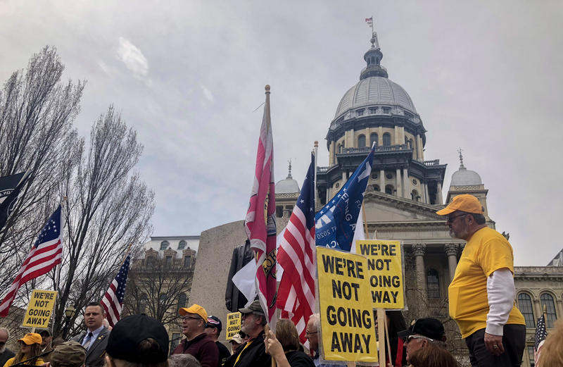 Hundreds of gun owners marched to the Illinois Statehouse to lobby lawmakers on April 25, 2018.
