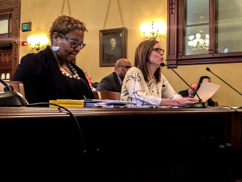 Khadine Bennett,  associate legislative director for the ACLU of Illinois (left) and state Rep. Ann Williams (D- Chicago), present the net neutrality bill at the House Cybersecurity, Data Analytics, & IT Committee Wed., April 11, 2018.